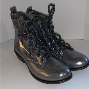 Dirty Laundry Metallic silver lace up boots